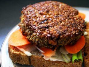hamburguesas de quinoa y lentejas
